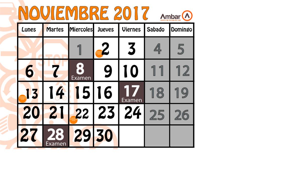 Examenes del mes de noviembre 2017 autoescuela ambar - Mes noviembre 2017 ...